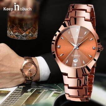 Harga Lovers' Steel Watches Couple Luxury Fashion Business Men Full Steel Watch Quartz Waterproof Women watches(Man Gold)