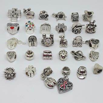 Harga Jochebed 30 Pcs A Lot Antique Silver Tone Beads Fit European Pandora Bracelet Compatible