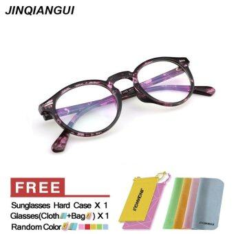 Harga JINQIANGUI Fashion Vintage Retro Round Glasses Purple Frame Glasses Plastic Frames Plain for Myopia Men Eyeglasses Optical Frame Glasses