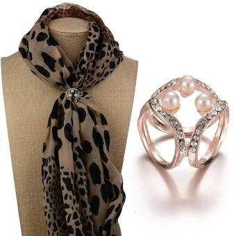 Harga Women Fashion Pearls Three-ring Chain Diamante Clip Scarves Buckle Brooch Pin with Tree Big Pearls Gold Plated
