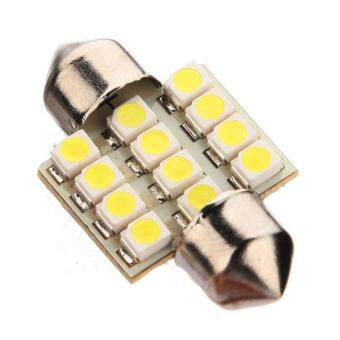 Harga 31mm 12 LED SMD Car Bulbs White Festoon Map Dome Light Lamp 3021 3022 DE3175