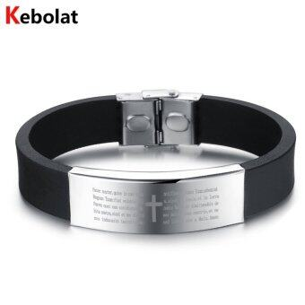 Harga Kebolat Stainless Steel Cross Wire Silicone Bracelets Fashion Men Bracelet Cool Man Casual Bracelet Trend Male Jewelry Accessorie PH867S