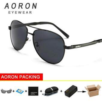 Harga AORON Alloy Men Sunglasses Polarized Lens Driver Mirror Glasses Male Driving Fishing Outdoor Eyewears (Black Frame+Black Lens)[ Buy 1 Get 1 Freebie ]