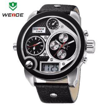 Harga Weide Dual Analog and Digital Oversize Men's Silver Black Leather Watch WH2305