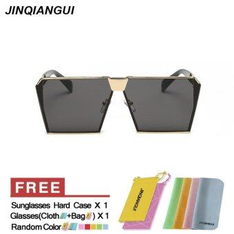 Harga JINQIANGUI Sunglasses Men Square Titanium Frame Sun Glasses GreyGold Color Eyewear Brand Designer UV400