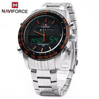 Harga NAVIFORCE Quartz Analog Digital Watches Mens Steel Waterproof Army Military Sports Watch(Orange)
