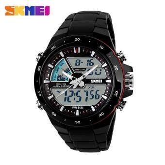 Harga Skmei man's Outdoor sport Quartz Silicone Army watch 50CM Waterproof Wristwatches 1016 - Black Red