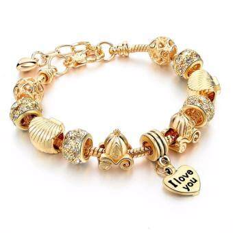 Harga Jochebed Gold Plated Alloy Big Whole DIY Charm Beads Bracelet (B0048)