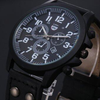 Harga Vintage Classic Mens Waterproof Date Leather Strap Sport Quartz Army Watch Black