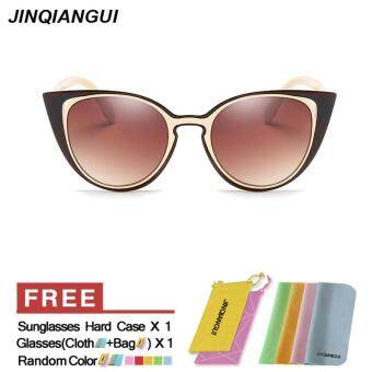 Harga JINQIANGUI Sunglasses Women Cat Eye Retro Plastic Frame Sun Glasses Beige Color Eyewear Brand Designer UV400