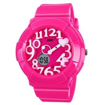 Harga SKMEI 1020 Kid's Waterproof Analog + Digital Wrist Watch (Pink White)
