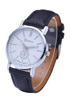 Harga Geneva Fashion Leather Quartz Watches Roman Numeral Faux Analog Casual Wrist Watch (Silver Shell White Surface)
