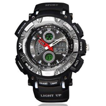 Harga OHSEN Men Sport Digital Waterproof Analog Military Watches 2 Time Zone Digital Quartz Chronograph Wrist Watch