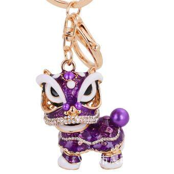 Harga LYBALL Women's Men's Rhinestone Chinese lion Dance keychain Crystal China Lion Keyring Lovely Gift