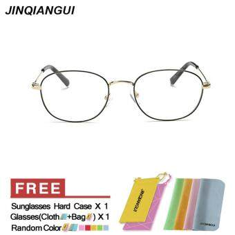 Harga JINQIANGUI Fashion Glasses Frame Rectangle Glasses GoldBlack Frame Glasses Titanium Frames Plain for Myopia Women Eyeglasses Optical Frame Glasses