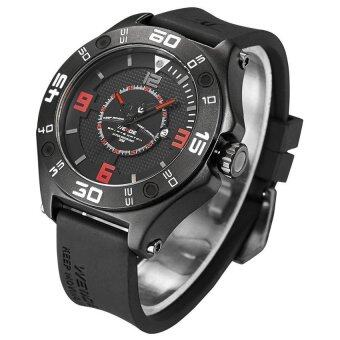 Harga Weide UV1502 Men's Universe Series Analog Calendar Silicon Band Watch - Black Red