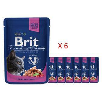 Harga Brit Premium Cat Pouch 100g  - Salmon & Trout x 6 packs
