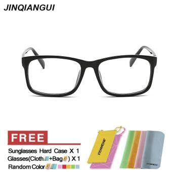 Harga JINQIANGUI Fashion Rectangle Glasses BrightBlack Frame Glasses Plain for Myopia Men Eyeglasses Optical Frame Glasses