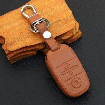 Harga Fit For KIA RIO K2 Cerato Optima K3 K5 Sportage Sorento Leather Car key case Smart key cover brown
