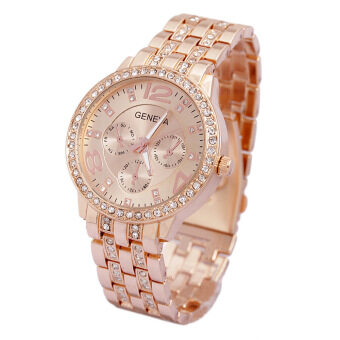 Harga Women's Rose Golden Alloy Double Drilling Diamond Band Wrist Watch