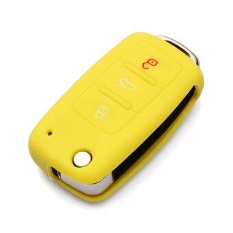 Harga Silicone car key cover for Volkswagen VW POLO Tiguan Passat B5 B6 B7 Golf MK6 EOS Scirocco Jetta MK5 MK6 Skoda Superb Fabia Yeti(yellow)