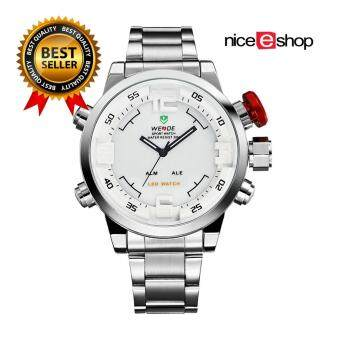 Harga WEIDE Mens Dual Time Display Sports Wrist Watches(Silver&White) - Intl