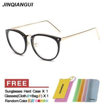 Harga JINQIANGUI Fashion Glasses Frame Vintage Retro Cat Eye Glasses BrightBlack Frame Glasses Plastic Frames Plain for Myopia Women Eyeglasses Optical Frame Glasses
