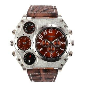 Harga AOXINDA Mens Dual Sports Military Watch with Compass&thermometer Decoration Big Dial Jam Tangan - Brown
