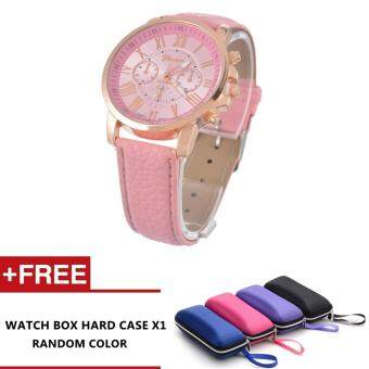 Harga Nero Fashion Women Quality Leather Belt Casual Fashion Watches (Pink)