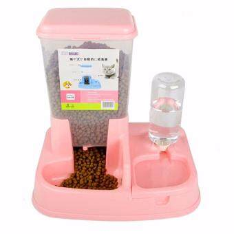 Harga Premium Quality 2 in 1 Automatic Pet Food Feeder Drinking Dispenser 1.5L (Pink)