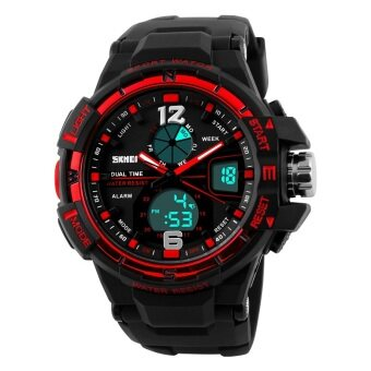 Harga Skmei 30 Meter Waterproof Multifunction Analog Quartz Digital Men's Black PU Strap Watches Military Watch Men 1148 Original (Black Red)