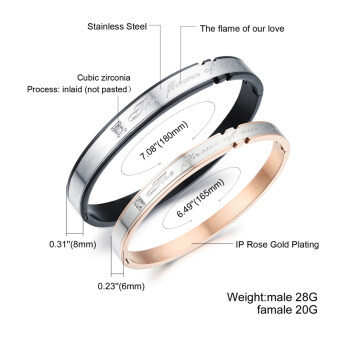 Harga ZUNCLE Couple Valentine's Day Gift Ideas Diamond Bracelet(Silver+Rose Gold)