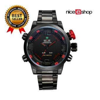 Harga WEIDE Mens Dual Time Display Sports Wrist Watches(Black&Red) - Intl