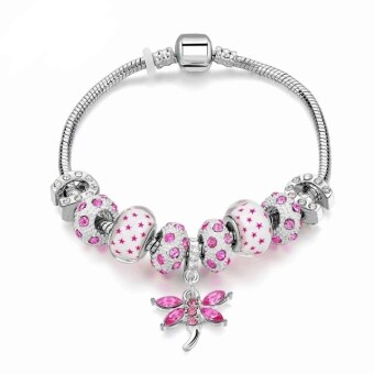 Harga Jochebed Latest Women Fashion DIY Crystal Murano Charm Bead Snake Chain Bracelet. Pandora Compatible (Pink Butterfly Pendant)