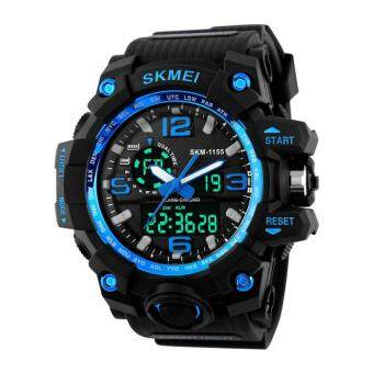 Harga SKMEI Men's Analog Multifunction Two Timezone Sport Waterproof Watch Blue