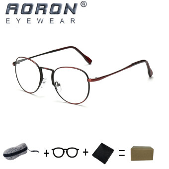 Harga [Buy 1 Get 1 Freebie] AORON Brand Retro Reading Glasses Anti-fatigue Computers Glasses Anti-blue Light Eyeglasses 1001(Red Wine)