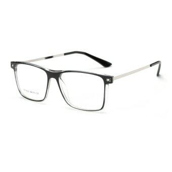 Harga JINQIANGUI Men's Fashion Glasses Frame Square Glasses Clear Frame Glasses Plastic Frames Plain for Myopia Men Eyeglasses Optical Frame Glasses