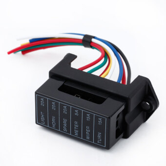 Harga 6 Way DC32V Circuit Car Trailer Auto Blade Fuse Box Block Holder ATC ATO 2-input 6-ouput Wire