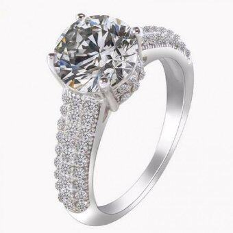 Harga Women Silver Wedding Rings With Cubic Zirconia Diamond Luxury Jewelry 2016 Fashion Korean Aneis Female Hot Sale BME201