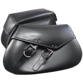 Harga 2pcs Motorcycle Saddle Bag Motorbike Side Tool Bag Moto Racing Black Leather Strap Tail Luggage Bag