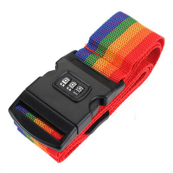 Harga HDL Rainbow Travel Luggage Strap Suitcase Bag Digit with Lock Band BeltTag Baggage