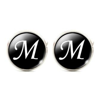 Harga Moonar Letters Men Suits Shirt Cuff Links Glass French Cuff Accessories (letter M)