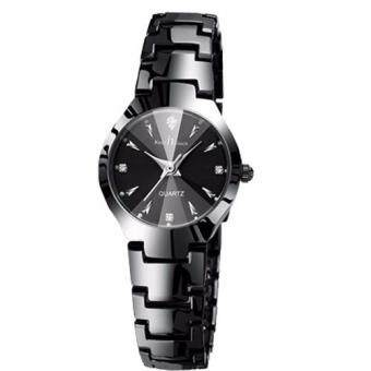 Harga New Luxury Brand Lover Watches Fashion Men's Full Stainless Steel Quartz Couple Watch Women watches(Woman Black)