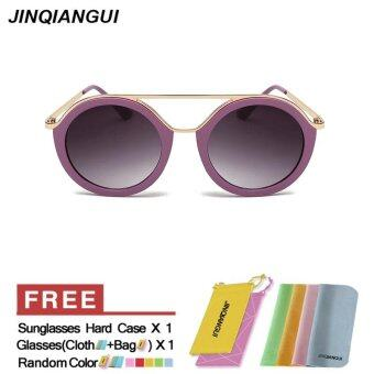 Harga JINQIANGUI Sunglasses Women Round Sun Glasses Purple Color Brand Design