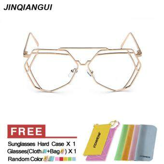 Harga JINQIANGUI Glasses Frame Women Irregular Titanium Eyewear Gold Color Spectacle Frames for Nearsighted Glasses