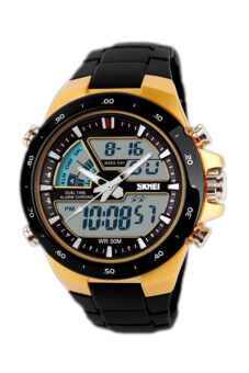 Harga SKMEI Men's Black Rubber Strap Watch 1016
