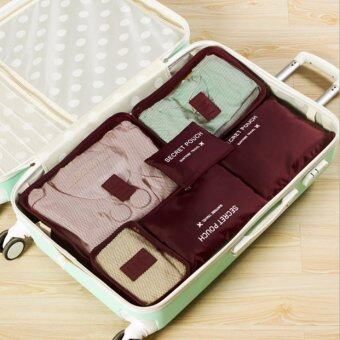 Harga GoTravel 7009 Korean Multifunction Set 6 in 1 Clothes Storage Travel Luggage Organizer Bag (Maroon)