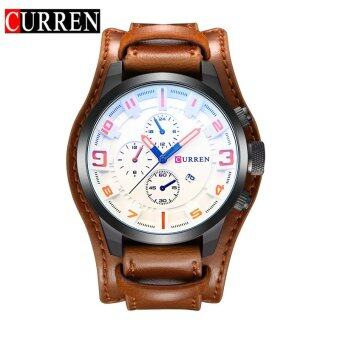 Harga CURREN 8225 Original Brand Men's Sports Round Analog Wrist Watch Faux Leather Band Date Watch For Men