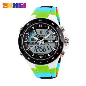 Harga Skmei Fashion Men's Quartz Watch Analog-Digital Led Sports Waterproof Watch 1016 - Green Black
