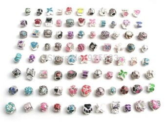 Harga Jochebed 50pcs a lot mix color oil-drip beads fit European Pandora Bracelet compatible